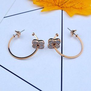 Henri Bendel Zircon Clover Rose Gold Earrings